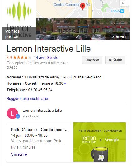 Google Fiche My Business de Lemon Interactive