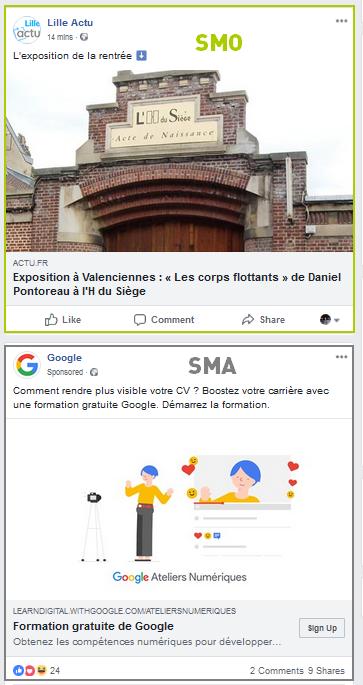 Différences entre SMO et SMA (publication naturelle et publicité sur les réseaux sociaux)